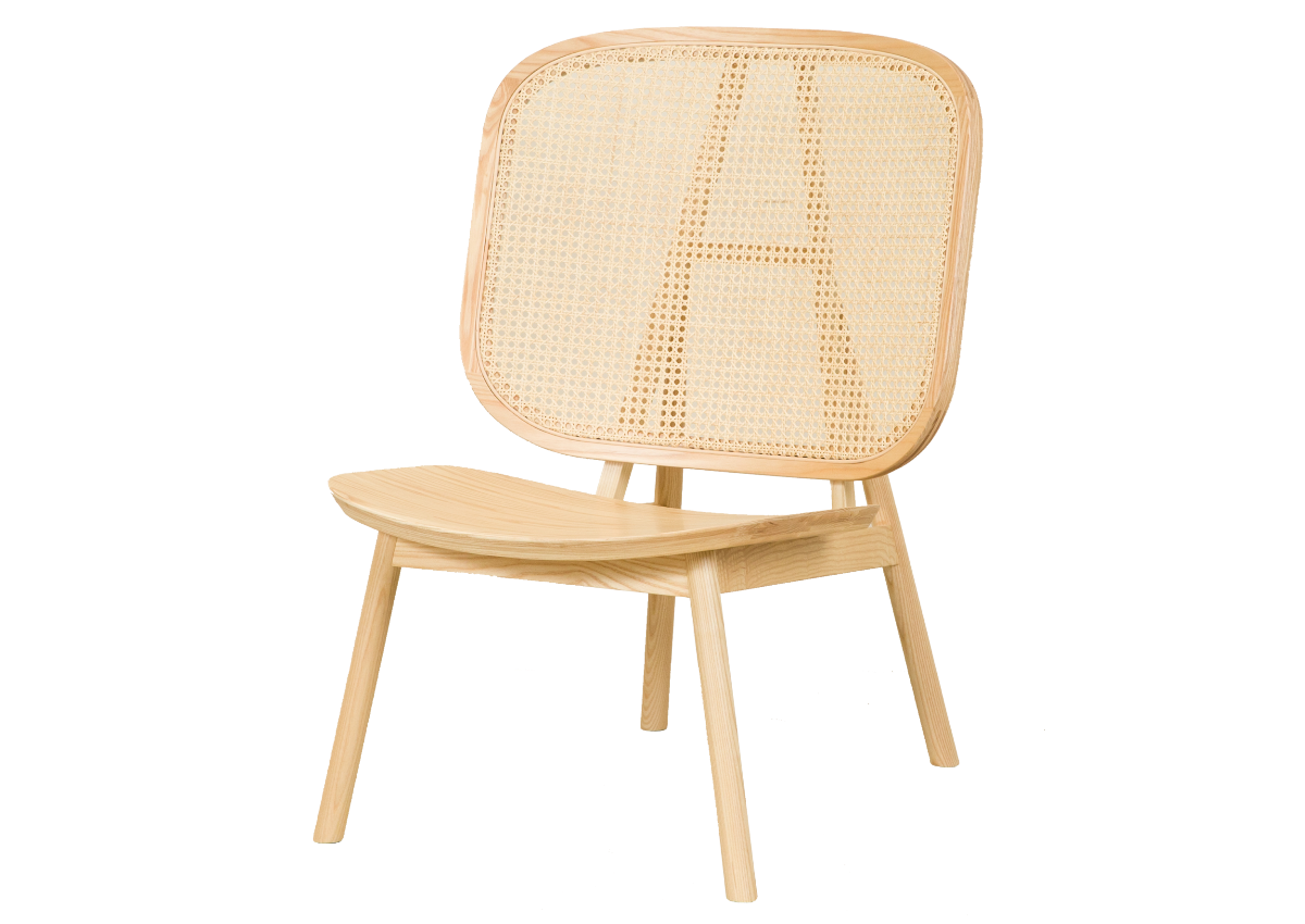CANE lounge chair, natural ash